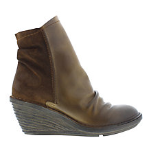 Buy Fly Slou Wedge Heeled Ankle Boots, Camel Online at johnlewis.com