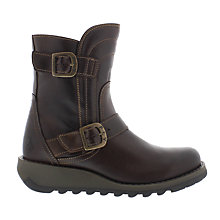 Buy Fly Sven Buckle Ankle Boots, Dark Brown Online at johnlewis.com