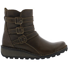 Buy Fly Myso Triple Buckle Ankle Boots, Olive Online at johnlewis.com