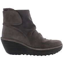 Buy Fly Yegi Rip Tape Wedge Heeled Ankle Boots, Ash Online at johnlewis.com