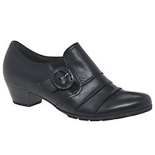 Buy Gabor Prose Block Heel Loafers, Black Leather Online at johnlewis.com