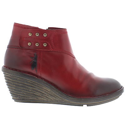 Fly Sade Wedge Heeled Ankle Boots, Red