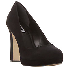 Buy Dune Aria Block Heeled Court Shoes, Black Suede Online at johnlewis.com
