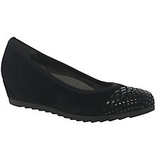 Buy Gabor Berletta Wide Wedge Heeled Court Shoes, Black Online at johnlewis.com