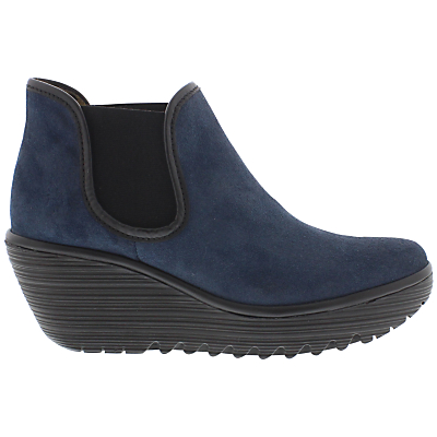 Fly Yat Wedge Heeled Ankle Boots, Ocean Black