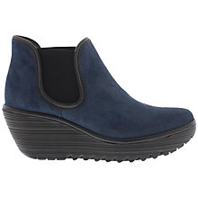Buy Fly Yat Wedge Heeled Ankle Boots, Ocean Black Online at johnlewis.com