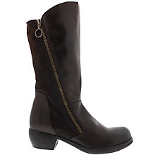 Buy Fly Malt Block Heeled Calf Boots, Dark Brown Online at johnlewis.com
