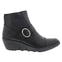 Buy Fly Pais Wedge Heeled Ankle Boots, Black Online at johnlewis.com
