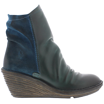 Fly Slou Wedge Heeled Ankle Boots, Petrol