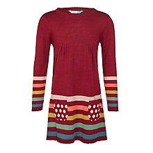 Buy John Lewis Girls' Striped Dress, Red Plum Online at johnlewis.com