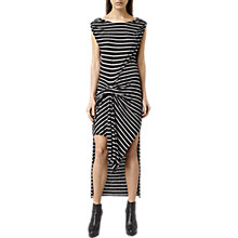 Buy AllSaints Riviera Stripe Dress, Black/Cloud Grey Marl Online at johnlewis.com