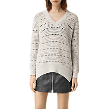 Buy AllSaints Lota V-Neck Jumper, Porcelain White Online at johnlewis.com