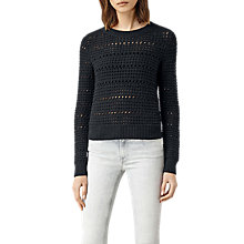 Buy AllSaints Lota Cropped Jumper, Cinder Black Online at johnlewis.com