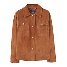 Buy Violeta by Mango Buttoned Suede Jacket, Dark Brown Online at johnlewis.com