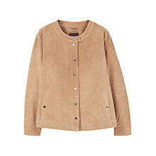 Buy Violeta by Mango Buttoned Suede Jacket, Light Beige Online at johnlewis.com