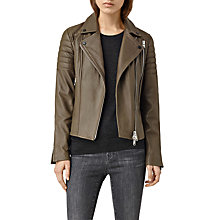 Buy AllSaints Obika Biker Jacket, Dark Khaki Green Online at johnlewis.com