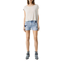Buy AllSaints Birds Embroidered Denim Shorts, Indigo Blue Online at johnlewis.com