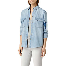 Buy AllSaints Birds Denim Shirt, Indigo Blue Online at johnlewis.com
