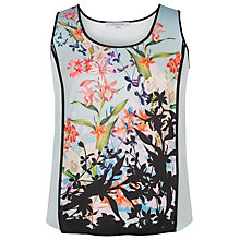 Buy Chesca Floral Print Satin Back Crepe Camisole Top, Aqua/Multi Online at johnlewis.com