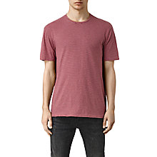 Buy AllSaints Teranic Stripe Short Sleeve Crew Neck T-Shirt, Rose Red Online at johnlewis.com