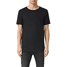 Buy AllSaints Niety Subtle Stripe Crew Neck T-Shirt, Black Online at johnlewis.com