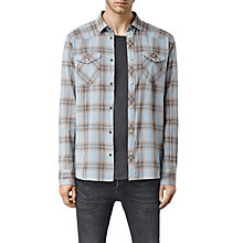 Buy AllSaints Theydon Check Slim Fit Shirt, Blue Online at johnlewis.com