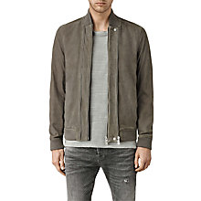 Buy AllSaints Kurne Leather Bomber Jacket, Steel Grey Online at johnlewis.com