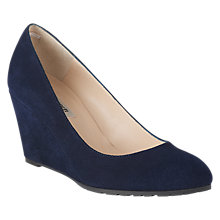 Buy L.K. Bennett Bayleen Suede Wedge Heel Court Shoes, Navy Online at johnlewis.com