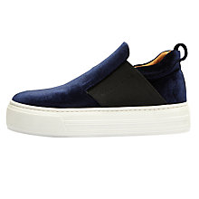 Buy Selected Femme Stephanie Slip On Flatform Trainers, Dark Navy Online at johnlewis.com
