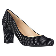 Buy L.K. Bennett Sersha Block Heeled Court Shoes, White/Black Suede Online at johnlewis.com