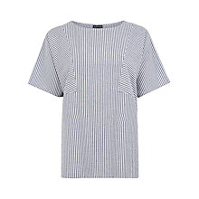 Buy Warehouse Stripe Cotton T-Shirt, Blue Online at johnlewis.com