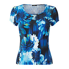 Buy Precis Petite Blurred Floral Jersey Top, Multi Blue Online at johnlewis.com