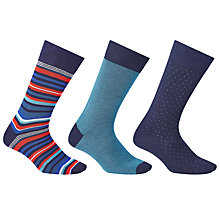 Buy John Lewis Made in Italy Egyptian Cotton Blend Stripe Socks, Pack of 3 Online at johnlewis.com