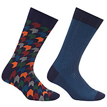 Buy John Lewis Made in Italy Egyptian Cotton Diamond Houndstooth Socks, Pack of Two, Blue Online at johnlewis.com