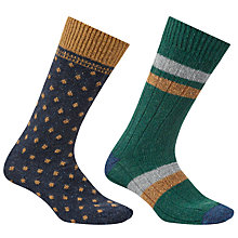 Buy John Lewis Made in Italy Wool Silk Socks, Pack of 2, Navy Online at johnlewis.com