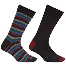Buy John Lewis Made in Italy Egyptian Cotton Block Stripe Socks, Pack of Two, Black/Burgundy Online at johnlewis.com