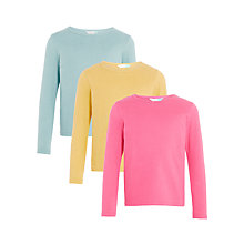 Buy John Lewis Girls' Essential T-Shirts, Pack of 3, Yellow/Pink Online at johnlewis.com
