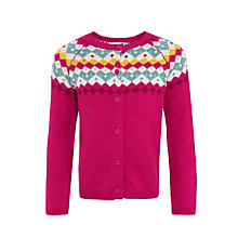 Buy John Lewis Girls' Fair Isle Cardigan, Magenta Berry Online at johnlewis.com