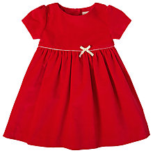 Buy John Lewis Baby Velvet Bow Dress, Red Online at johnlewis.com