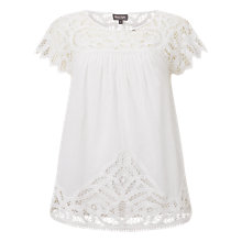 Buy Phase Eight Ambroise Crochet Blouse, White Online at johnlewis.com