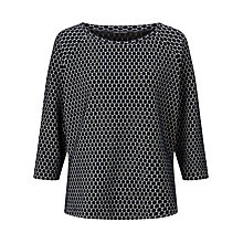 Buy Gerry Weber 3/4 Sleeve Spot Jacquard Top, Navy/White Online at johnlewis.com