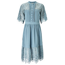 Buy Somerset by Alice Temperley Lace And Spot Dress, Dusty Blue Online at johnlewis.com