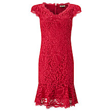 Buy Bruce by Bruce Oldfield Lace Fluted Hem Dress, Pink Online at johnlewis.com