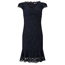 Buy Bruce by Bruce Oldfield Lace Fluted Hem Dress, Navy Online at johnlewis.com