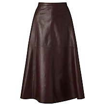 Buy Bruce by Bruce Oldfield 73 NYC Full Leather Skirt, Oxblood Online at johnlewis.com