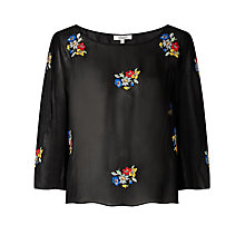 Buy Somerset by Alice Temperley Floral Embroidered Top, Black Online at johnlewis.com