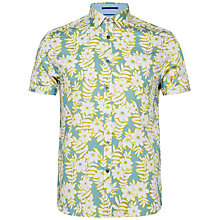 Buy Ted Baker Realhip Floral Cotton Shirt, Teal Online at johnlewis.com