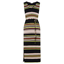 Buy Oasis Saffron Stripe V Neck Midi Dress, Multi Online at johnlewis.com