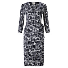 Buy East Spotted Ruche Jersey Dress, Navy Online at johnlewis.com
