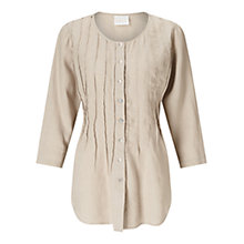 Buy East Linen Pintuck Blouse, Stone Online at johnlewis.com